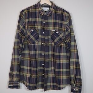 Denim & Supply Plaid Olive Long-Sleeve Button-Up